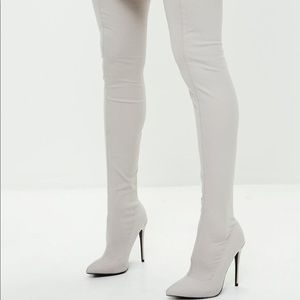 Missguided Thigh High Grey Boots